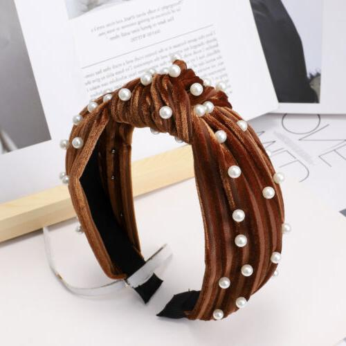 Women's Pearl Velvet Tie Hairband Headband Knot Hair Hoop