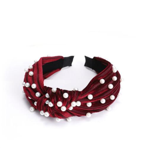 Women's Pearl Velvet Tie Hairband Headband Hair