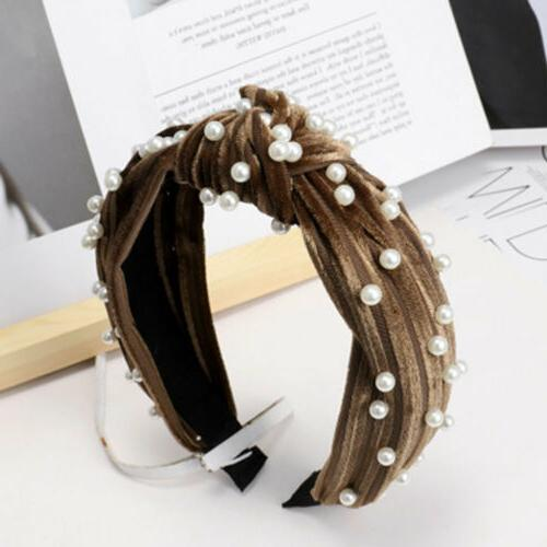 Women's Headband Bands Pearl Wide Knotted