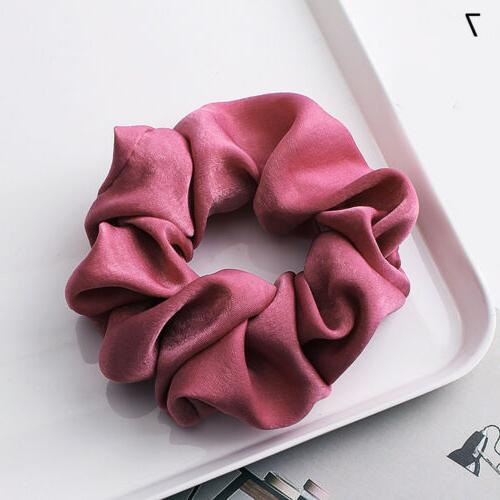 Soft Silky Satin Solid Hair Elastic Hair Bands Ponytail