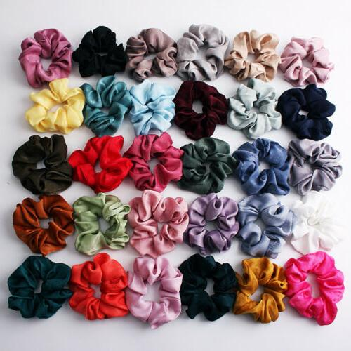 soft silky satin solid hair scrunchies elastic