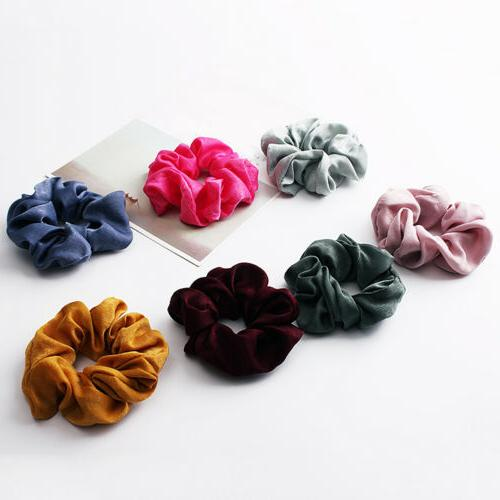 Soft Silky Solid Hair Scrunchies Bands Ponytail Rope