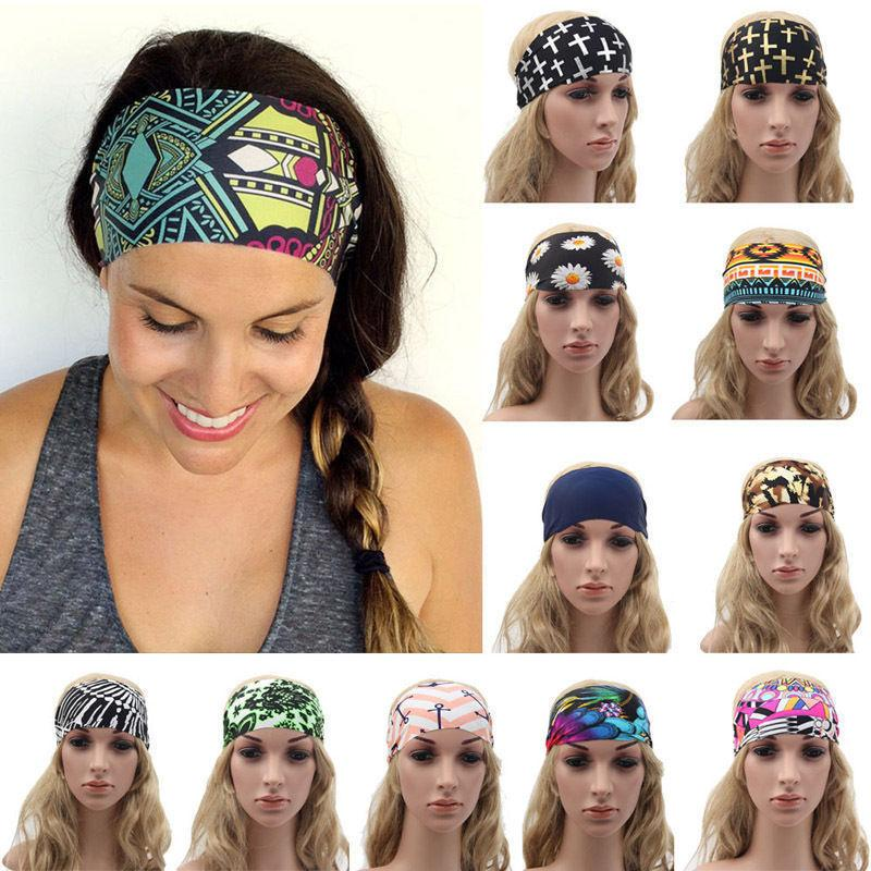 Women Wide Sports Yoga Headband Stretch Hairband Elastic Hai