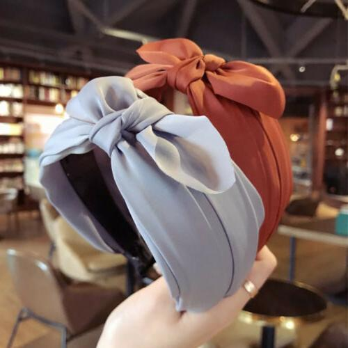 womens girls sweet bowknot wide hairband solid