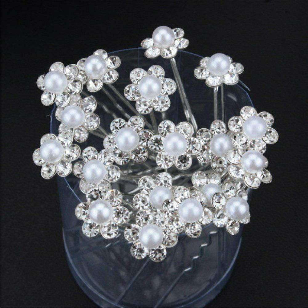 yueton 40pcs Bridal Pearl Flower Crystal