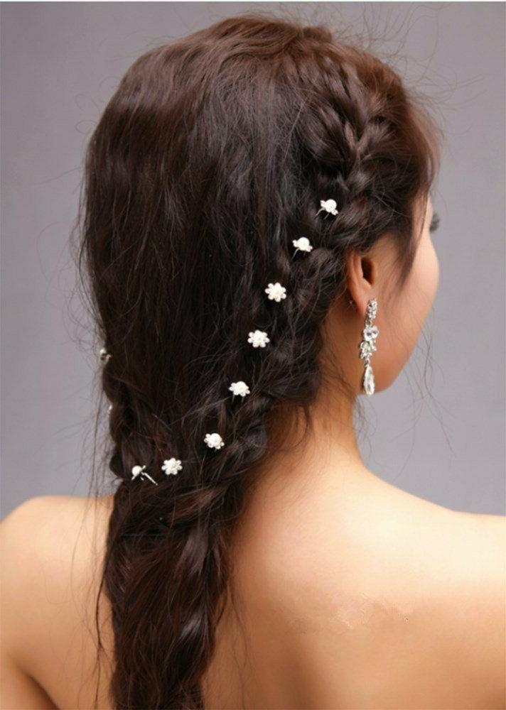 yueton 40pcs Pearl Flower Crystal Pins
