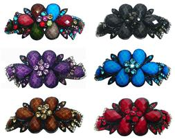 Bella Large Barrette Hair Clip Decorated with Beads and Crys