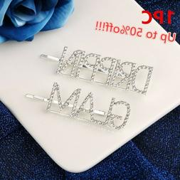 Letters Hair Pin Rhinestone Head wear Hair Accessories Cryst