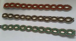 LOT of 3 Turquoise Red Black Gold Beaded Headbands Hair Acce