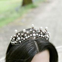 Aukmla Luxury Delicate Vintage Tiara Pearl and Crystal Headd