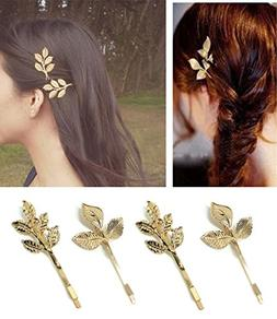 QTMY 4 PCS Metal Feather Leaves Hairpin Hair Clips Hair Acce