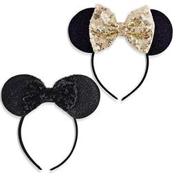 DRESHOW Mickey Ears Headbands Sequin Hair Band Accessories f