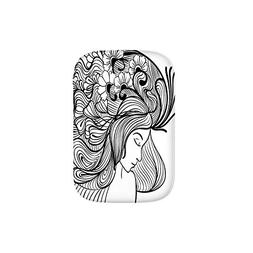 Monochrome Doodle Young Woman with Flower Hair Feminine Desi