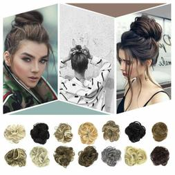 Natural Human Curly Messy Bun Hair Piece Scrunchie Updo Fake