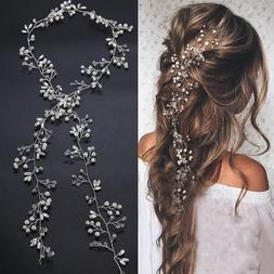 New 35cm Pearl Wedding Hair Vine Crystal Bridal Accessories