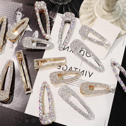 New Fashion Girls Crystal Hair Clip Snap Barrette Hairpin Bo