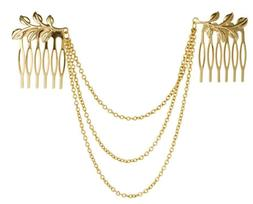 New Hair Accessories Gold Chain With Leaf Tassels Headbands