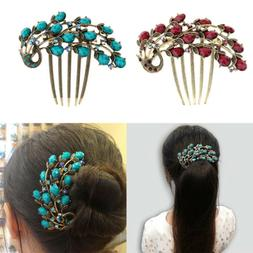 Novelty Wedding Jewelry Crystal Peacock Leaf Hair Clips Comb