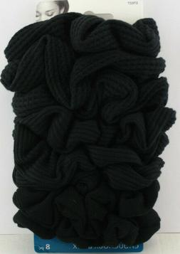 GOODY OUCHLESS MIXED TEXTURE KNIT HAIR SCRUNCHIES - BLACK -