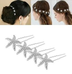 yueton Pack of 10 Bride Crystal Rhinestone Starfish Hair Pin