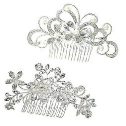 yueton Pack of 2 Bridal Wedding Silver Crystal Rhinestones P