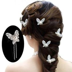 Yueton Pack Of 20 Butterfly Pearl Crystal Hair Pin Bride Hea