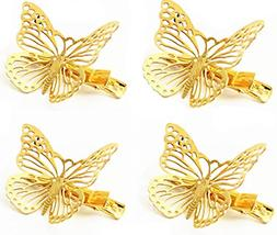 QTMY Pack of 4 Golden Hollow Metal Butterfly Hair Clip Hair