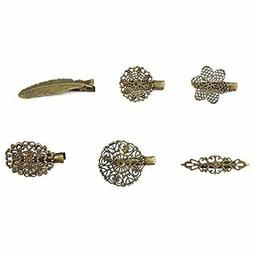 Yueton Pack Of 6 Vintage Leaf Flower Shape Hair Clip Headwea