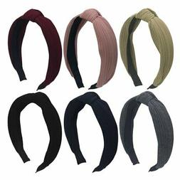 Habibee Pack of 6 Wide Plain Fashion Headbands Knot Turban H