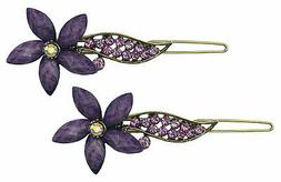 Bella Pair Rhinestones Flower Thin Hair Snap Clips Barrettes