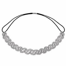 Lux Accessories Pave Crystal Pattern Stretch Bridal Bridesma