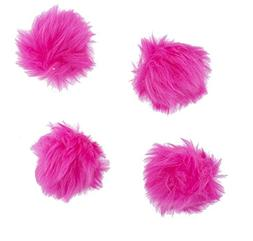 Lux Accessories Hot Pink Faux Fur Breast Cancer Pom Pom Hair