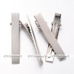 Platinum Tone Iron Flat Alligator Hair Clip Findings DIY Hai