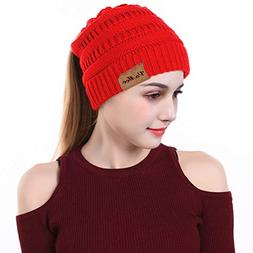 VeMee Ponytail Hat Winter Hat with Ponytail Hole Knit Hat Ca