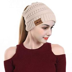 VeMee Ponytail Hat Winter Warm Hats for Women Messy Bun Bean