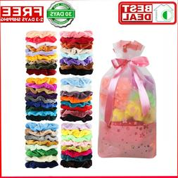 50 Pcs Premium Velvet Hair Scrunchies Hair Bands Scrunchy Ha