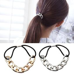 Cuhair 2pcs Punk hair bands Gold Silver Plated Woman Elastic