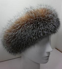 Real Crystal Fox Fur Headband New  genuine authentic
