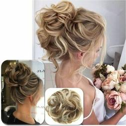 As Human Real Natural Curly Messy Bun Hair Piece Scrunchie H