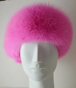 Real Pink Fox Fur Headband New  genuine authentic
