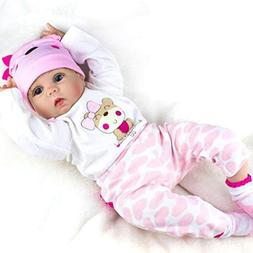 Reborn Baby Dolls Girl Look Real Silicone Vinyl Pink Outfit
