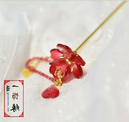 Red Flower Hair Pin/ Golden Hair stick/ Chinese Hair Accesso