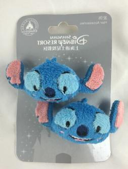 Disney Resort Shanghai Blue Stitch Hair Accessories Set Of 2