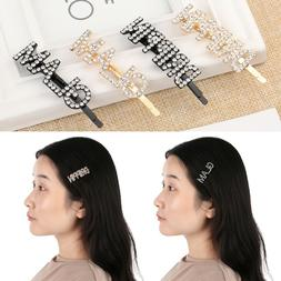 Rhinestone Head wear Crystal Barrettes Letters Hair Pin Hair
