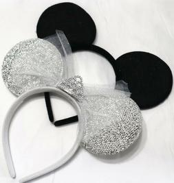 Set of 2 Wedding Bride and Groom Mickey Minnie Mouse Ears, D