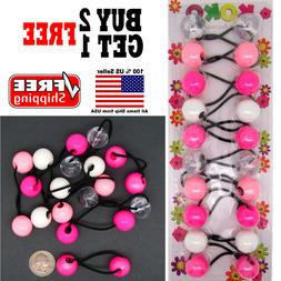 Shades of Pink Braid Girls Scrunchie Jumbo Beads Hair Tie Ba