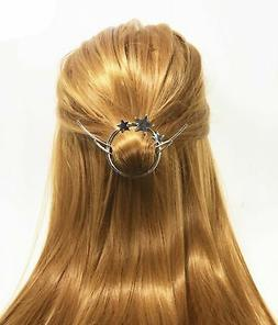 QTMY Silver Star Moon Circle Shaped Hair Pin Clips Hair Jewe
