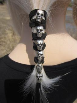 SKULL Leather Hair Wrap Ties Ponytail Holders silver Beaded