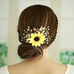 Aukmla Sunflower Hair Piece Flowers and Leaves Headpieces Fa