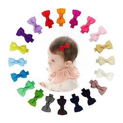 "Ruyaa Tiny 2"" Hair Bows Fully Lined Hair Clips for Baby Fine"